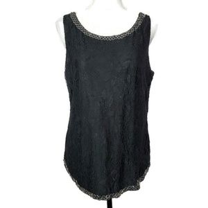 BKE Boutique Black Lace Tank Size Large